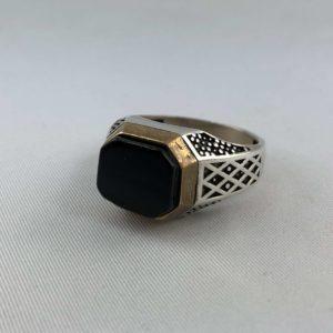 anello-uomo-turcomanno-argento-925-onice-nero-sfaccettato-online