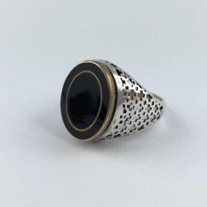 anello-uomo-turcomanno-onice-nero-argento-925-cornice-online