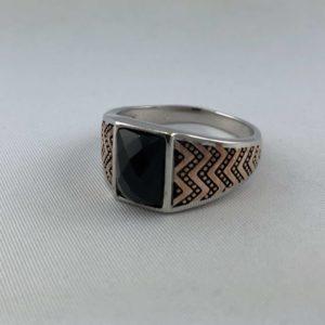 anello-uomo-turcomanno-onice-nero-sfaccettato-argento-925-online