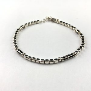 bracciale-uomo-argento-925-pepite-inserti-neri-online