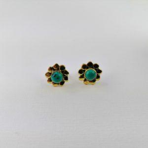 Coppia-orecchini-ottone-disegno-fiore-pietra-onice-verde