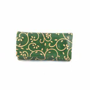 Portafoglio-cuoio-porta-carte-credito-porta-monete-verde-disegno-floreale