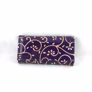 Portafoglio-cuoio-porta-carte-credito-porta-monete-viola-disegno-floreale